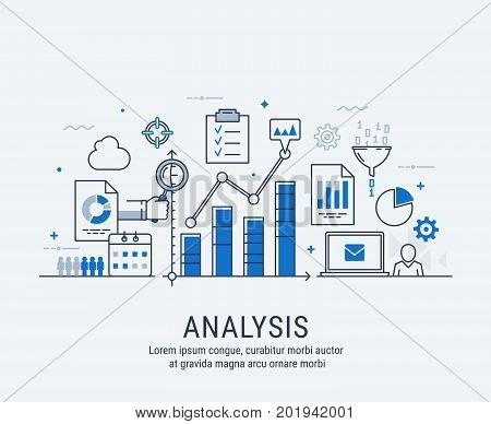 Modern thin line design for analysis website banner. Vector illustration concept for business analysis market research product testing data analysis.