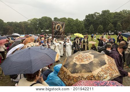 Czestochowa Poland 26 August 2017: Jubilee 300 of anniversary of the coronation of the image of the Mother of God of Czestochowska with papal crowns. Carrying the image for the Jasna Gora peak.