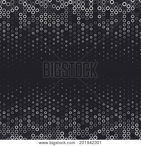 Vector halftone abstract background, black white gradient gradation. Geometric mosaic circle shapes monochrome pattern. Simple silver backdrop design.