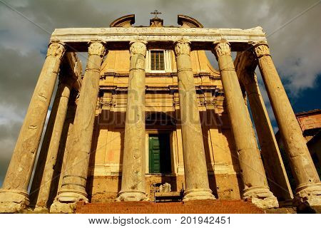 The temple of Antoninus and Faustina at the forum in Rome Italy