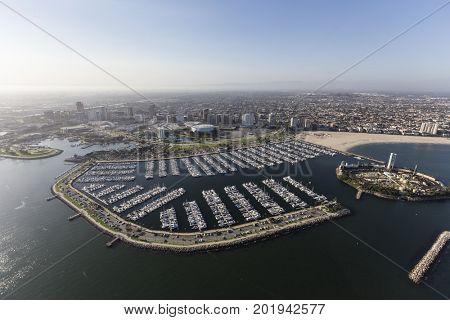 Aerial view of coastline and marina in Long Beach, California.