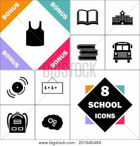 singlet Icon and Set Perfect Back to School pictogram. Contains such Icons as Schoolbook, School  Building, School Bus, Textbooks, Bell, Blackboard, Student Backpack, Brain Learn