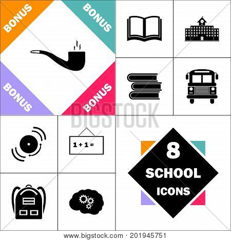 smoky pipe Icon and Set Perfect Back to School pictogram. Contains such Icons as Schoolbook, School  Building, School Bus, Textbooks, Bell, Blackboard, Student Backpack, Brain Learn