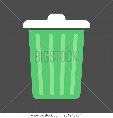 Vector illustration of a garbage can. Flat icon of a green trash can on a dark background.