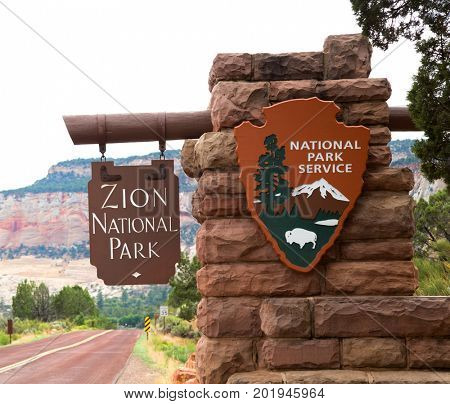Entrance sign in Zion National park in Utah, United States
