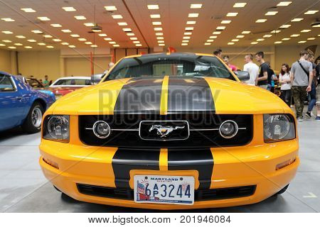 CRACOW POLAND - MAY 20 2017: Ford Mustang GT displayed at 3rd edition of MOTO SHOW in Cracow Poland. Exhibitors present most interesting aspects of the automotive industry