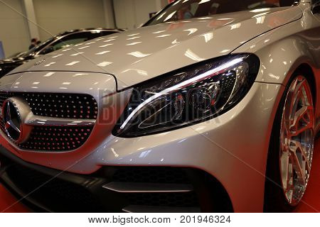 CRACOW POLAND - MAY 20 2017: Engine tuning Mercedes displayed at 3rd edition of MOTO SHOW in Krakow. Poland. Exhibitors present most interesting aspects of the automotive industry