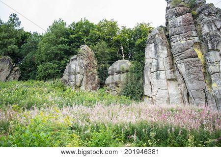 Externsteine in the footpath in the Teutoburger wood North Rhine-Westphalia