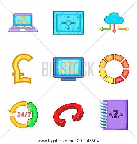 Storing money icons set. Cartoon set of 9 storing money vector icons for web isolated on white background