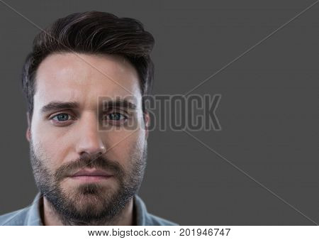 Digital composite of Portrait of Man with grey background