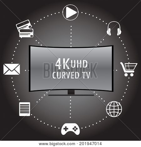 4K Tv With Icons Of Different Applications.