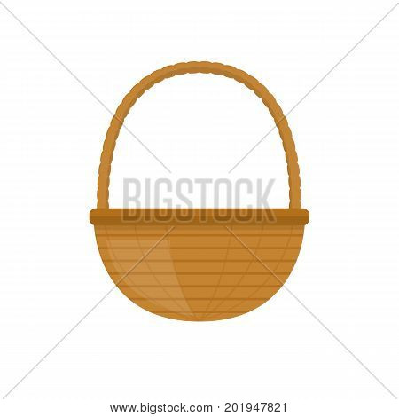 Empty baskets set isolated on white background vector illustration. Wicker picnic baskets, picnic Easter holiday, osier container clean, symbols for your projects.