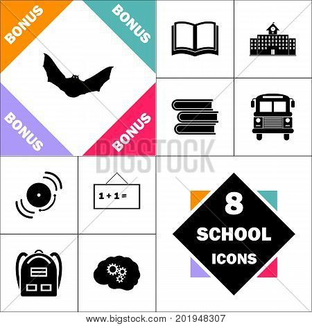Bat Icon and Set Perfect Back to School pictogram. Contains such Icons as Schoolbook, School  Building, School Bus, Textbooks, Bell, Blackboard, Student Backpack, Brain Learn