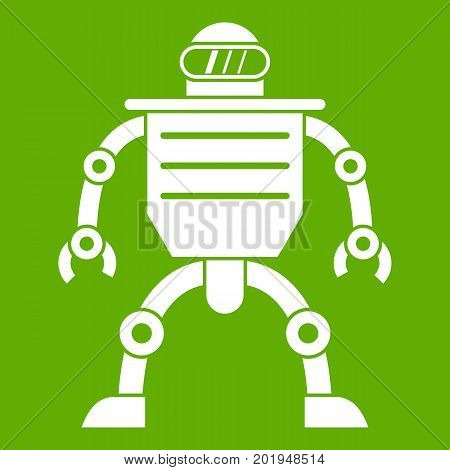 Humanoid robot icon white isolated on green background. Vector illustration