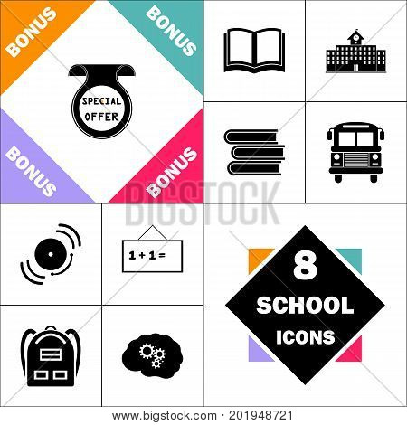 Special Offer Icon and Set Perfect Back to School pictogram. Contains such Icons as Schoolbook, School  Building, School Bus, Textbooks, Bell, Blackboard, Student Backpack, Brain Learn