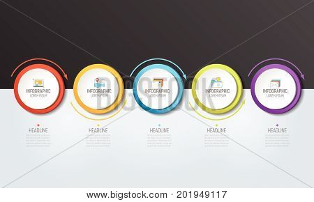 5 step Infographic. Circles with arrows. Template diagram graph chart presentation infograph milestone.