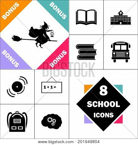 witch Icon and Set Perfect Back to School pictogram. Contains such Icons as Schoolbook, School  Building, School Bus, Textbooks, Bell, Blackboard, Student Backpack, Brain Learn
