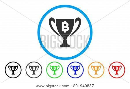 Bitcoin Award Cup flat vector pictogram for application and web design.