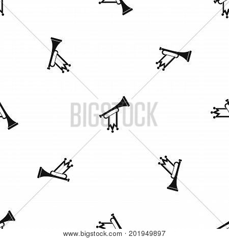 Trumpet with flag pattern repeat seamless in black color for any design. Vector geometric illustration