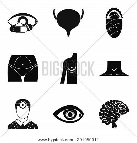 Anatomy icons set. Simple set of 9 anatomy vector icons for web isolated on white background