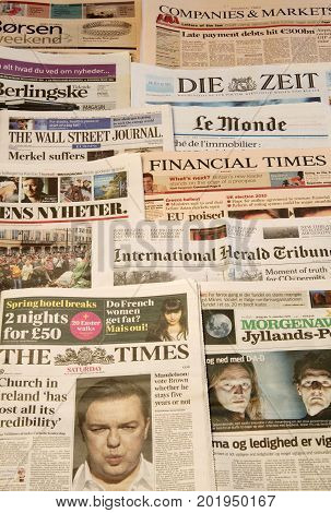 World newspapers detail of newspapers with news information and reading. Copenhagen, August 29, 2017