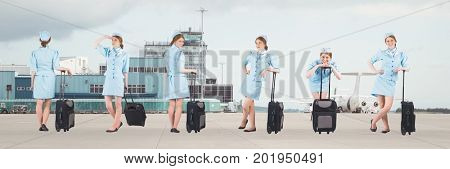 Digital composite of Stewardess holding baggage collage against airport background