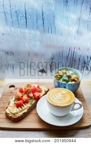 Hummus And Tomato Sandwich, Salad And Fresh Hot Cappuccino Coffee