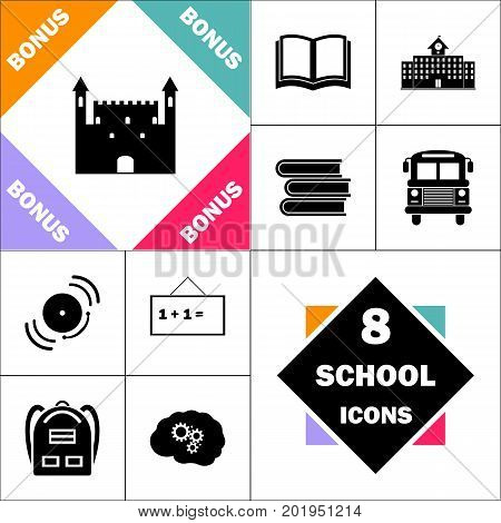 Castle Icon and Set Perfect Back to School pictogram. Contains such Icons as Schoolbook, School  Building, School Bus, Textbooks, Bell, Blackboard, Student Backpack, Brain Learn