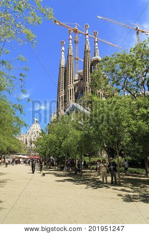 BARCELONA, SPAIN - MAY 12, 2017: The Cathedral of the Sagrada Familia is one of the main attractions of the city the famous project of Gaudi.