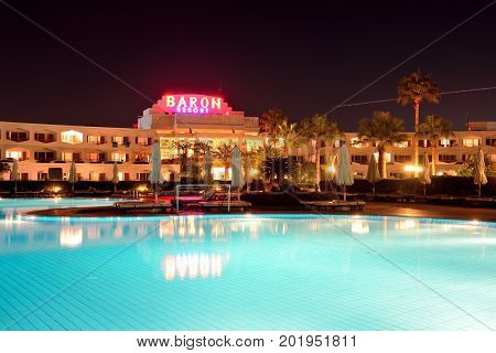 SHARM EL SHEIKH EGYPT - NOVEMBER 27: The tourists are on vacation at popular hotel on November 27 2012 in Sharm el Sheikh Egypt. Up to 12 million tourists have visited Egypt in year 2012.