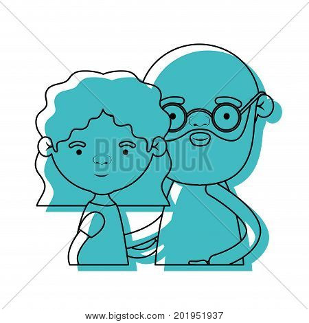 half body couple elderly of grandmother with wavy hair and bald bearded grandfather with glasses in blue watercolor silhouette vector illustration