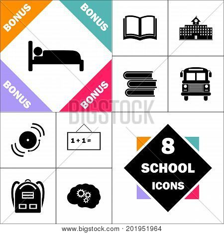 bed Icon and Set Perfect Back to School pictogram. Contains such Icons as Schoolbook, School  Building, School Bus, Textbooks, Bell, Blackboard, Student Backpack, Brain Learn