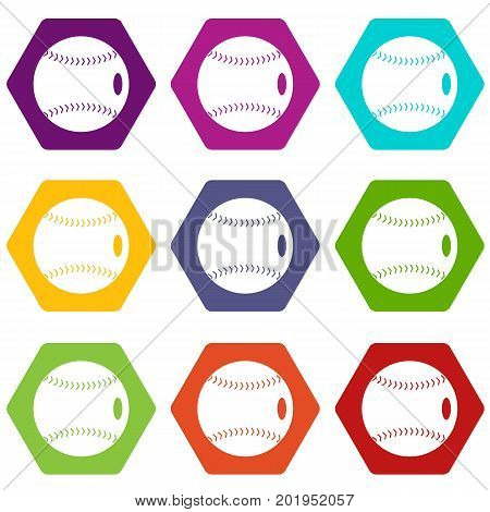 Baseball ball icon set many color hexahedron isolated on white vector illustration