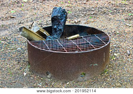 A Campfire Ring Pit With Wood Sticking Out Of It