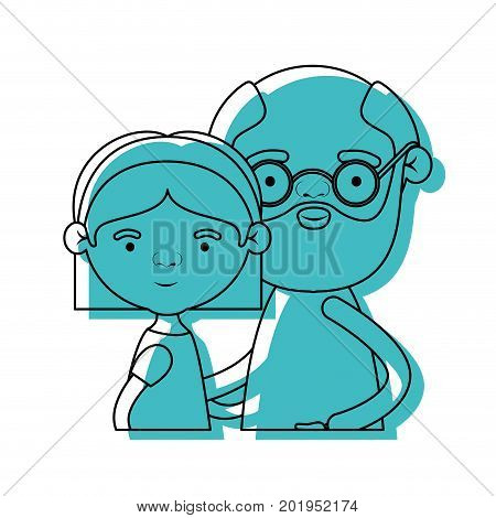 half body couple elderly of grandmother with straight short hair with grandfather with beard and glasses in blue watercolor silhouette vector illustration