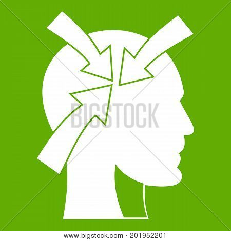 Head with arrows icon white isolated on green background. Vector illustration