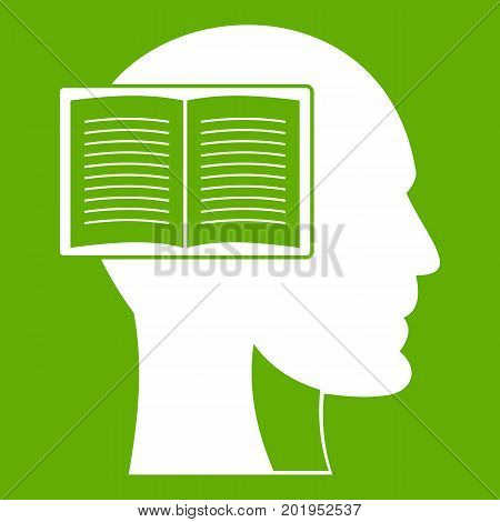 Head with open book icon white isolated on green background. Vector illustration