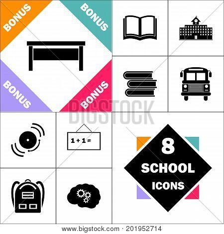 table Icon and Set Perfect Back to School pictogram. Contains such Icons as Schoolbook, School  Building, School Bus, Textbooks, Bell, Blackboard, Student Backpack, Brain Learn