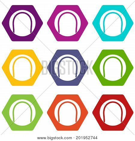 Black and white tennis ball icon set many color hexahedron isolated on white vector illustration