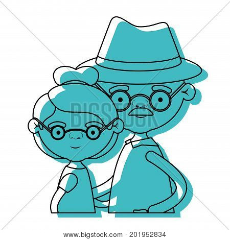 half body couple elderly of grandmother with glasses and bun hair with grandfather with hat and moustache in blue watercolor silhouette vector illustration