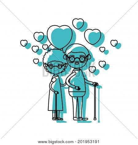 caricature full body elderly couple embraced with floating hearts grandfather in walking stick and grandmother with collected hair in blue watercolor silhouette vector illustration