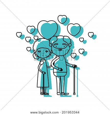 caricature full body elderly couple embraced with floating hearts bearded grandfather in walking stick and grandmother with bun hair in blue watercolor silhouette vector illustration