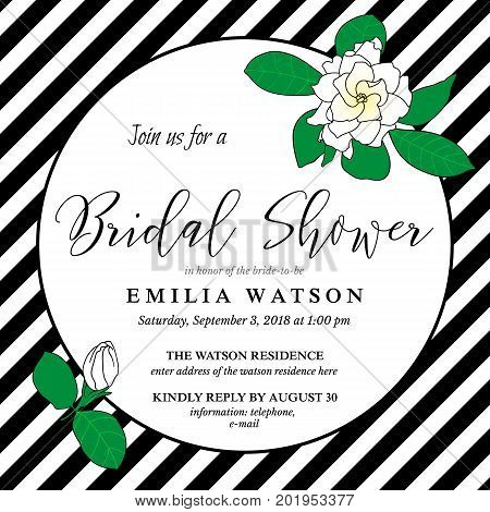 Bridal shower invitation card template with hand drawn gardenia flowers and diagonal black stripes. Trendy modern design for wedding.