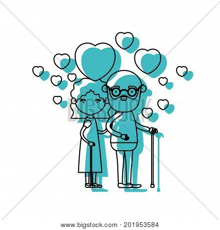 caricature full body elderly couple embraced with floating hearts bearded grandfather in walking stick and grandmother with wavy hair in blue watercolor silhouette vector illustration