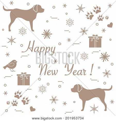 Cute Vector Illustration Of Two Dogs, Gift Boxes, Bird, Hearts, Footmarks And Snowflakes.
