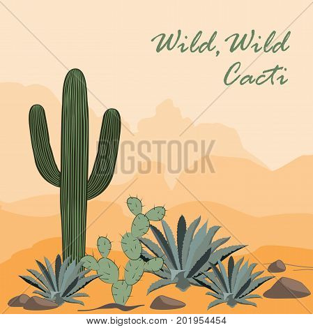 Cactus, opuntia, and prickly pearin the desert. Mountains background. Vector illustration