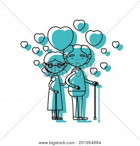 caricature full body elderly couple embraced with floating hearts grandfather in walking stick and grandmother with collected hair and glasses in blue watercolor silhouette vector illustration