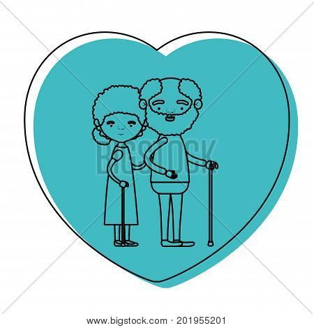 heart shape greeting card with caricature full body elderly couple embraced bearded grandfather in walking stick and grandmother with curly collected hair in blue watercolor silhouette vector illustration