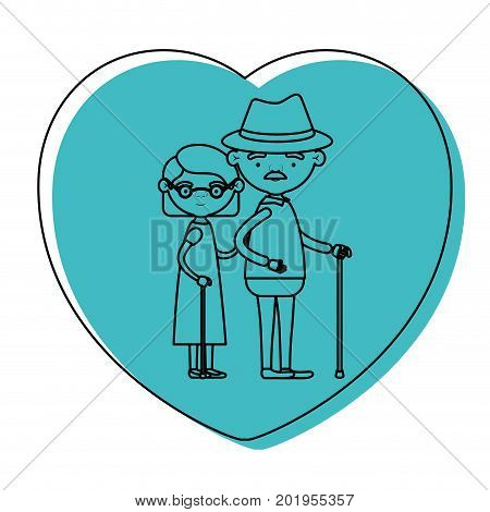 heart shape greeting card with caricature full body elderly couple embraced grandfather with hat and moustache in walking stick and grandmother with short hair in blue watercolor silhouette vector illustration