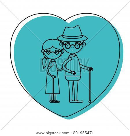 heart shape greeting card with caricature full body elderly couple embraced grandfather with hat and moustache in walking stick and grandmother with collected hair in blue watercolor silhouette vector illustration